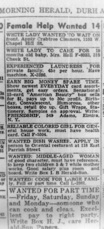 The Archer Pelican: Job Ads -- Durham Morning Herald, 1 Apr 1947
